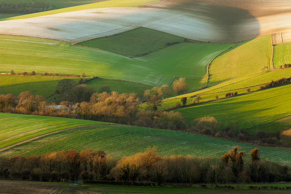 Deep winter sunset on the South Downs in East Sussex