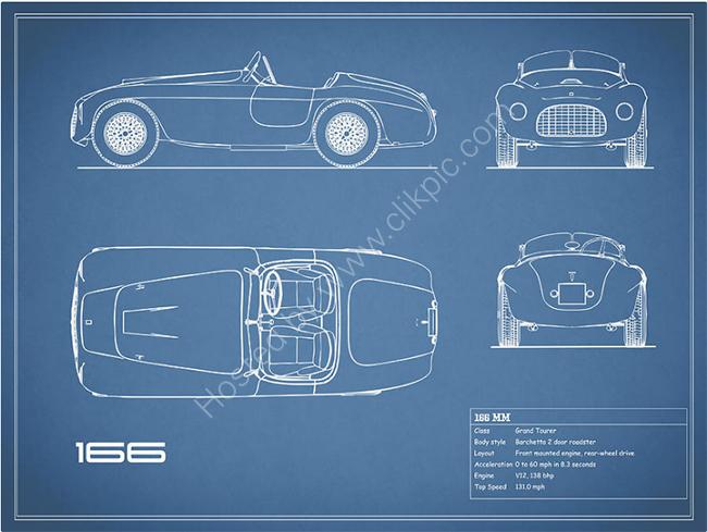 The Ferrari 166 MM Blueprint