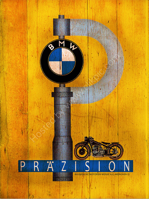Vintage BMW Motorcycle Poster