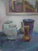 Still life with picture, jar, vases & blue cloth.