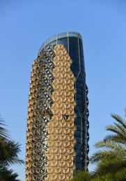 The Al Bahr Towers in  Abu Dhabi with the responsive facade called  Mashrabiya