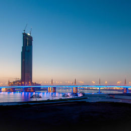 The view along the Dubai creek of Business Bay Bridge