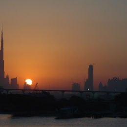 View across the Dubai creek at Sunset