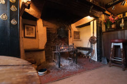 The fireplace at the Red Lion Inn