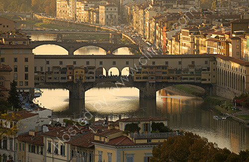 Famous Ponte Vecchio bridge over the river Arno Florence