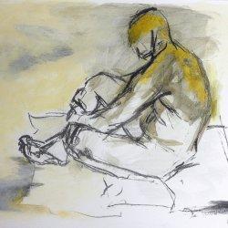 Man Seated on Floor - SOLD