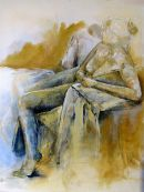 Woman in Blues and Ochres - SOLD