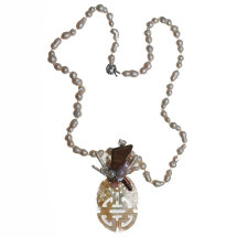 Mother of Pearl, 'Good Luck' Chinese Character Necklace £330
