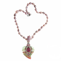 Pink & Green Agate Heart on Pearl Necklace £290