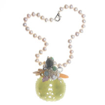 Green Jade Pendant & Pearl Necklace £490