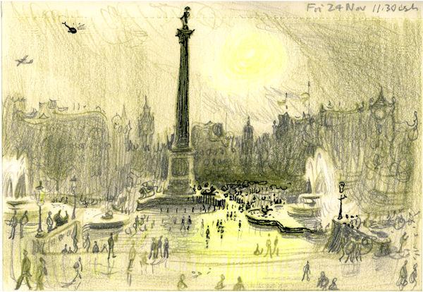 Wet Afternoon Trafalgar Square