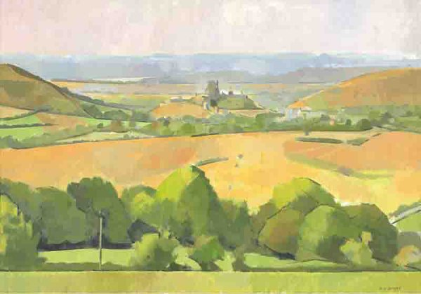 Corfe Castle from Kingston, A Summer Evening
