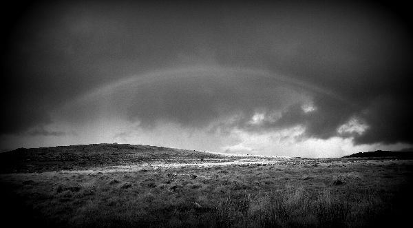 Black and white rainbow near Vixen Tor Dartmoor