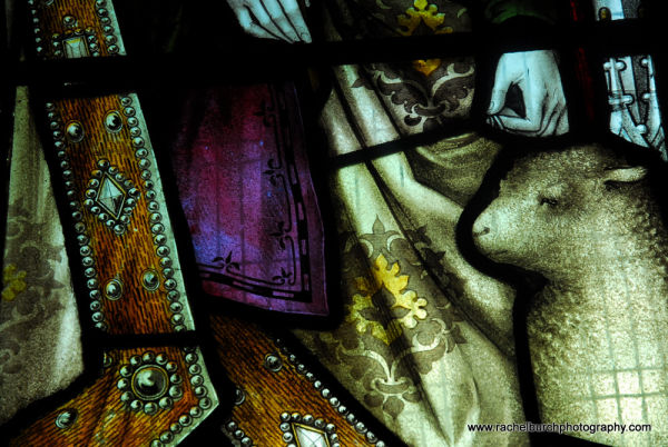 Detail of stained glass in Meavy Church