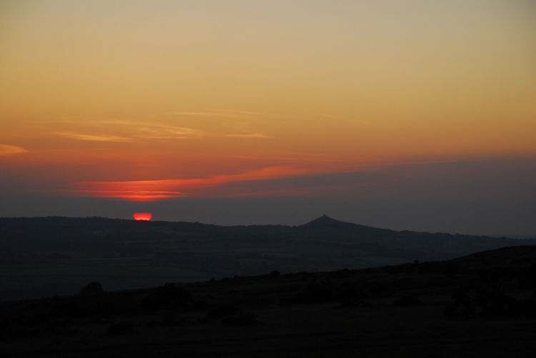 Sunset towards Brent Tor Dartmoor