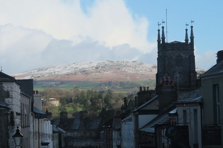 View of snow dusting on Cox Tor, seen from Tavistock, January 2015.