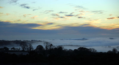 Mist Towards Bodmin From Dartmoor At Sundown