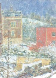 Snowfall in Cliftonwood, Bristol [acrylic]