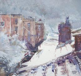 Rooftop snowscape, Bristol [gouache]