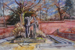 Remains of the hothouse in the old Botanical Garden [watercolour & pastel]