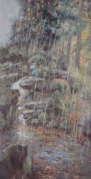 Autumn rain in Bristol's old Botanical Garden [acrylic]