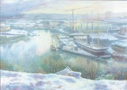 Bristol Floating Harbour in the snow [pastel & watercolour]