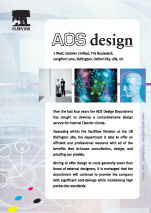 A flier publicising AOS, an internal corporate design resource