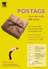 A poster explaining new postal guidelines