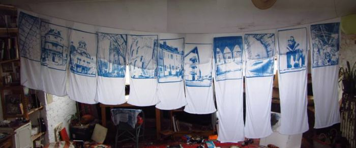 Large scale cyanotype banners onto cotton