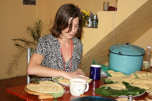 Juana Lopez Lopez portraits me learning tamales from her