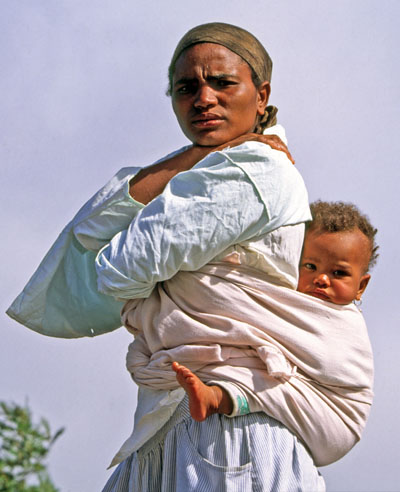 Mountain woman and child