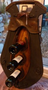 Old French horse yoke wine rack