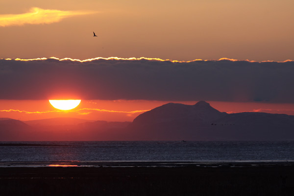 Aberlady Bay and Sunset over Arthur's Seat