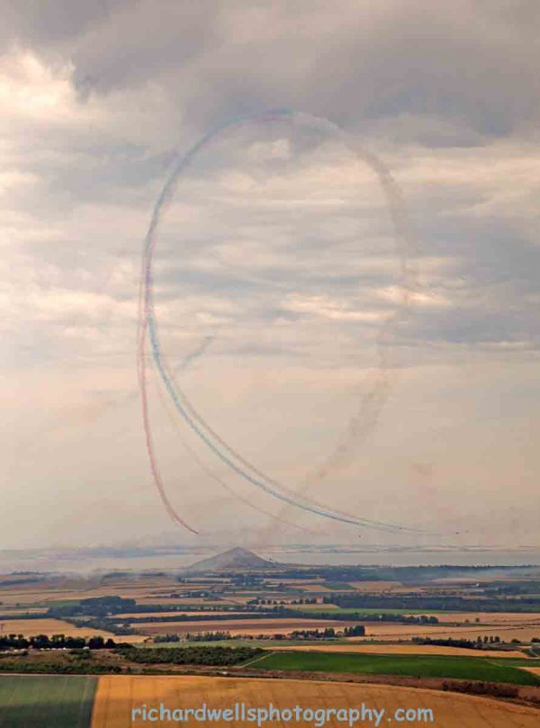 Red Arrows looping…over Berwick Law