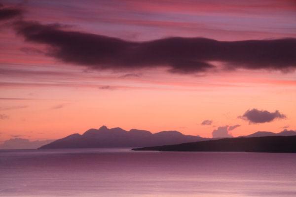 Rum sunset from Suisnish