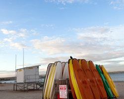 Kayaks on Weymouth Beach