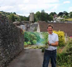 Richard Berry in his native Ashburton with his latest oil painting