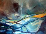 SOLD: FROZEN TURMOIL oil on deep edge canvas 1200x96cm