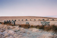Grey Wethers double stone circle, frosty dawn, moonset