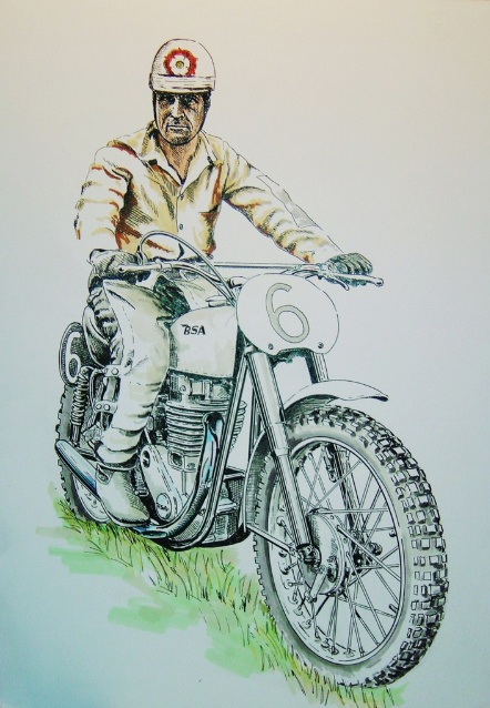 Private commission illustration of Jeff Smith OBE on his BSA Gold Star.