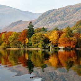 The beauty of autumn reflected in Coniston Water