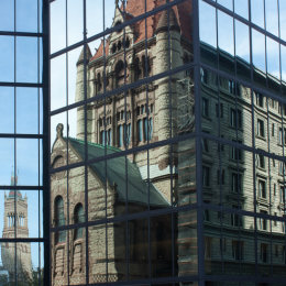 The past is reflected in the future in this shot, taken in Boston, MA