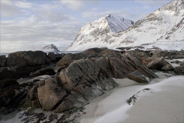 Snow on the beach.