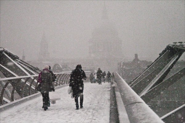 Snowbound London.