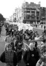 Protesters on O'Connell Bridge - including Tom McGinty (the Dice man) in the foreground