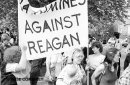 Rathmines against Reagan protesters