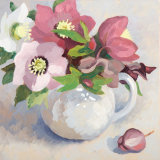Hellebores in a White Jug with a Bud SOLD