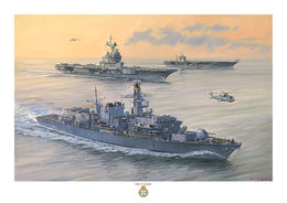 HMS St Albans  in company with FS Charles de Gaulle and the USS Harry S Truman