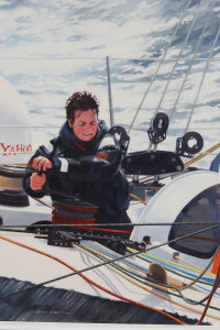Ellen MacArthur at the helm