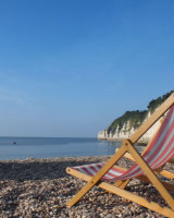 Empty deckchairs, Beer beach